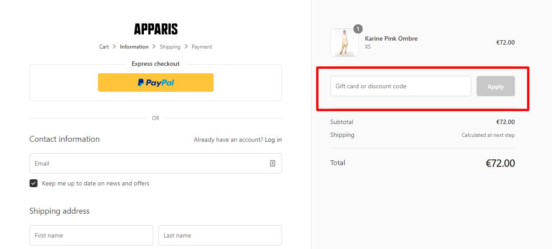How do I use my APPARIS discount code?