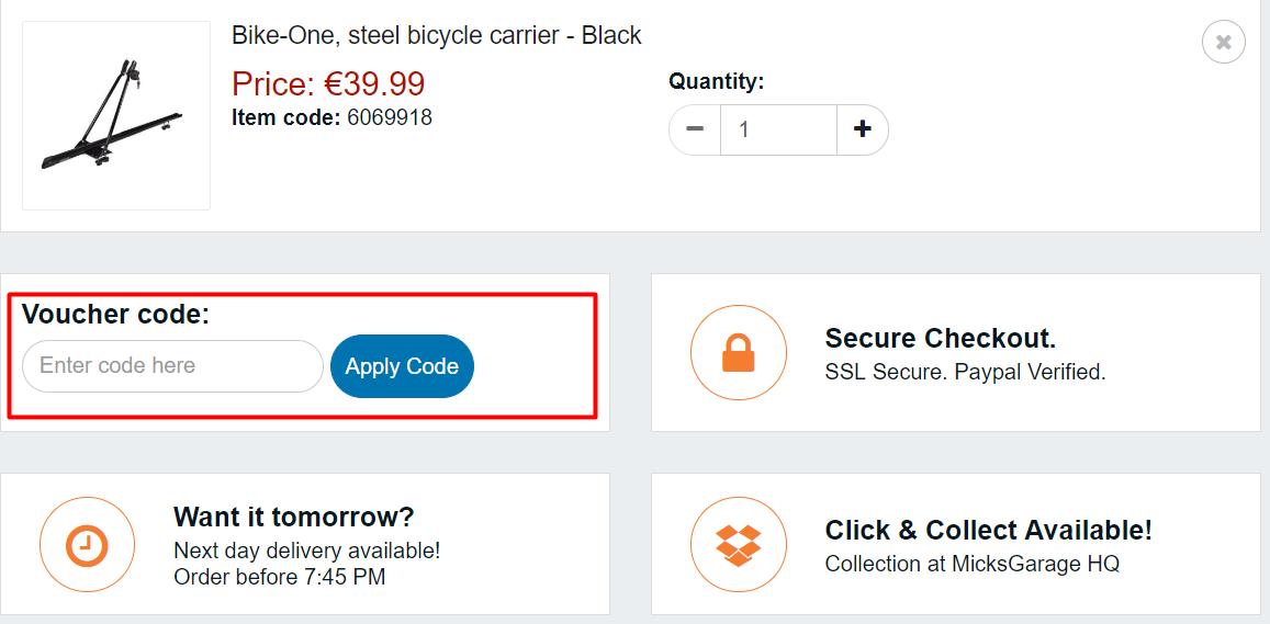 How do I use my Micks Garage discount code?