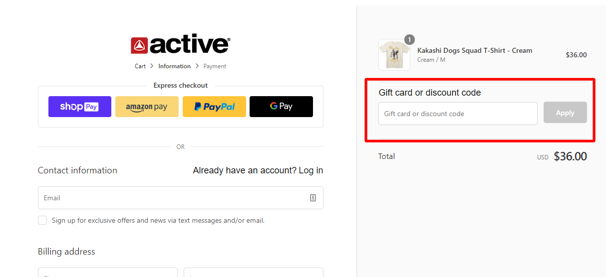How do I use my Active Ride Shop discount code?