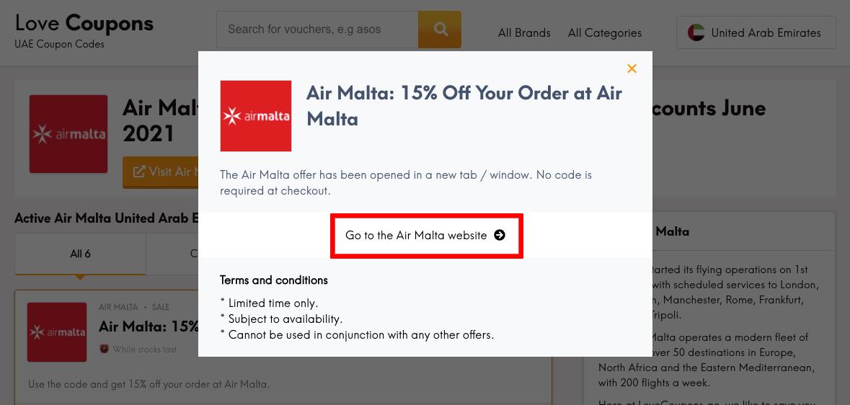 Air Malta AE Get Coupon