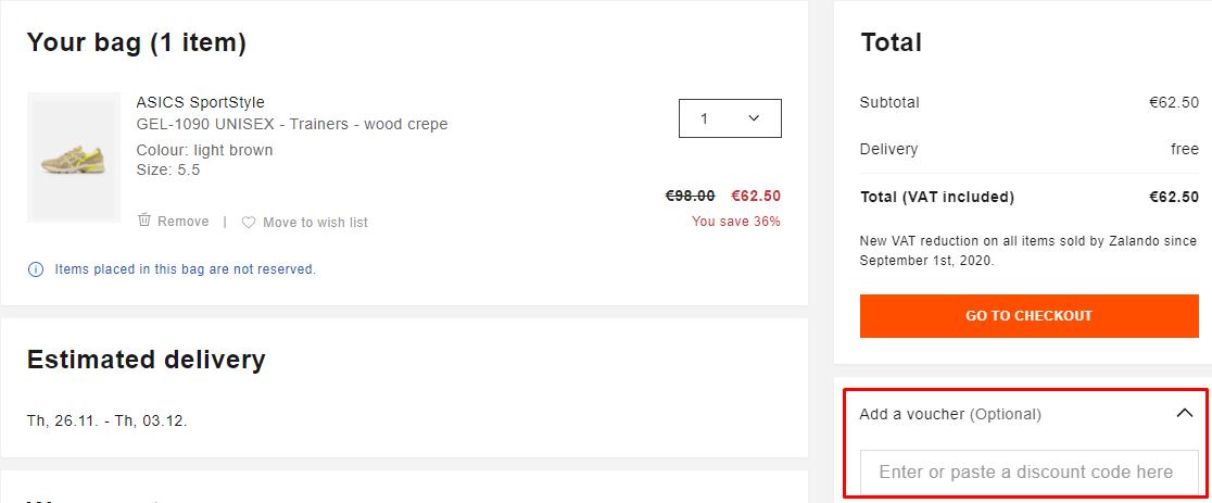 How do I use my Zalando voucher code?