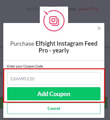 How do I use my Elfsight coupon code?