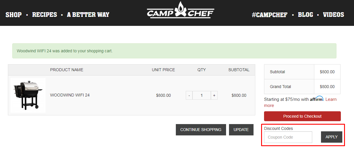 How do I use my Camp Chef discount code?