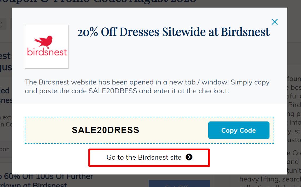 go to Birdsnest site N