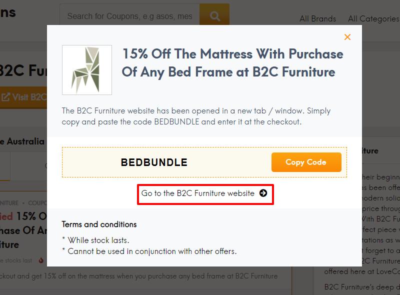 How do I use my B2C Furniture discount code?