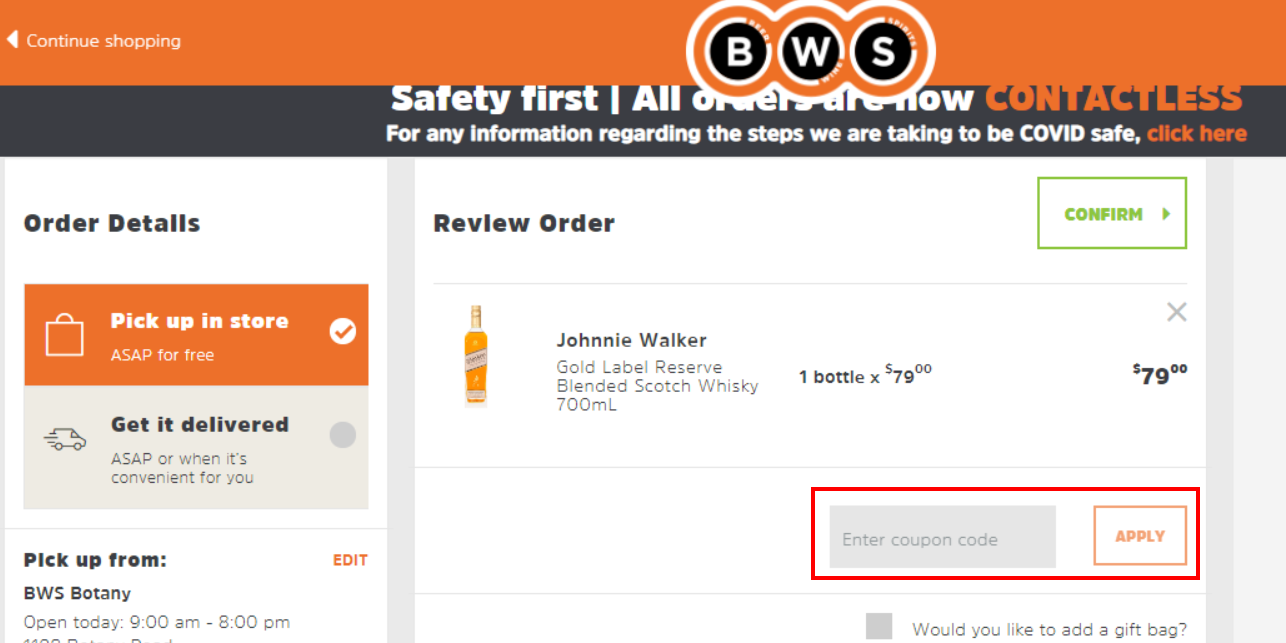 How do I use my BWS coupon code?
