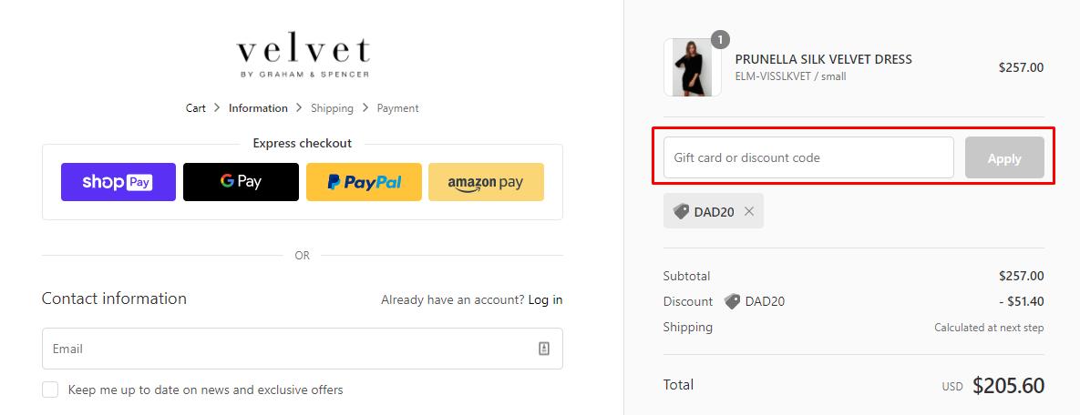 How do I use my Velvet Tees discount code?