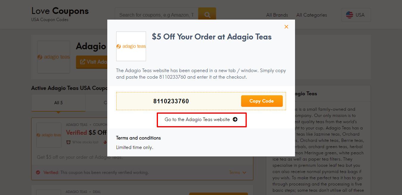 Adagios Teas website