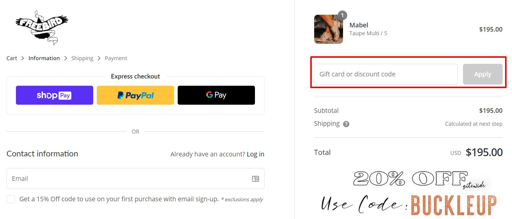 How do I use my FREEBIRD discount code?