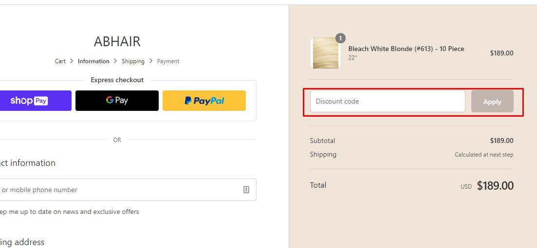 How do I use my abHair discount code?