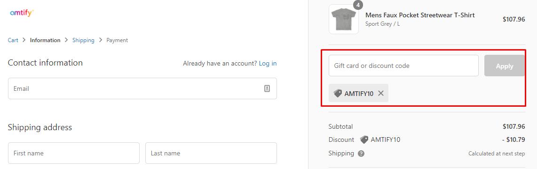 How do I use my Amtify discount code?