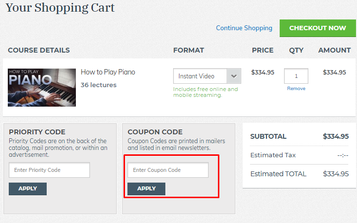 How do I use my The Great Courses coupon code?