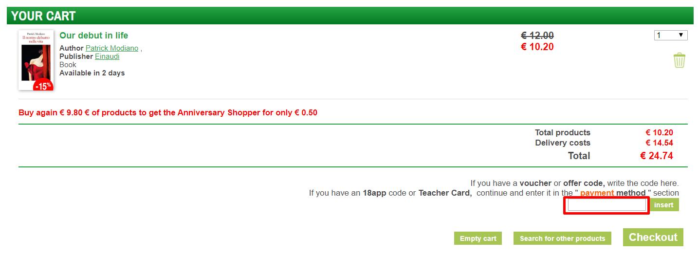 How do I use my Libraccio.it discount code?