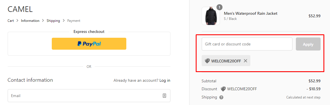 How do I use my CAMEL discount code?