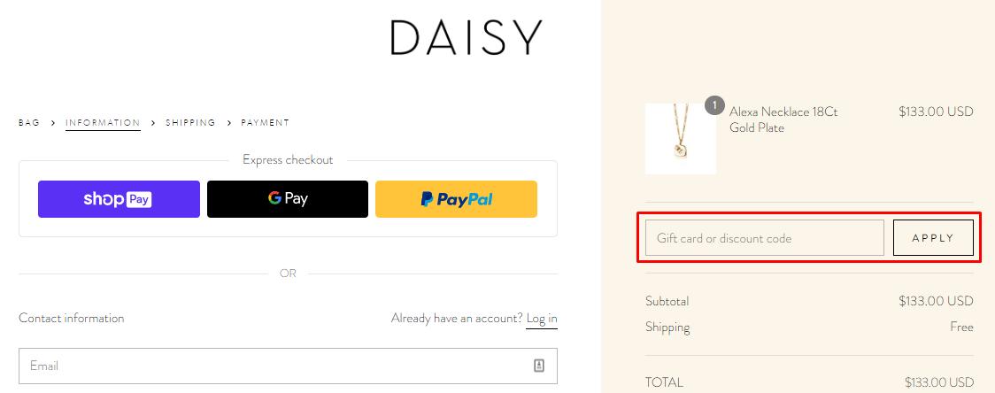 How do I use my Daisy discount code?