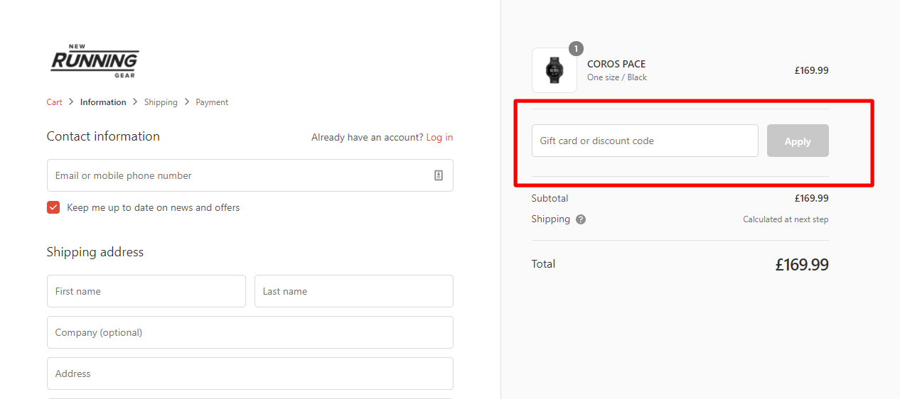 How do I use my NEW RUNNING GEAR discount code?