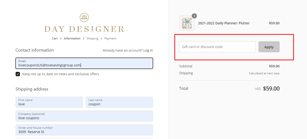 How do I use my Day Designer discount code?