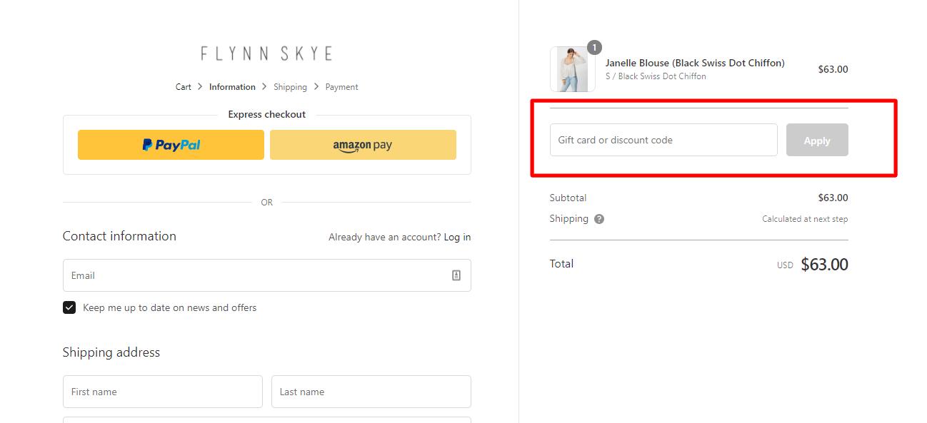 How do I use my FLYNN SKYE discount code?