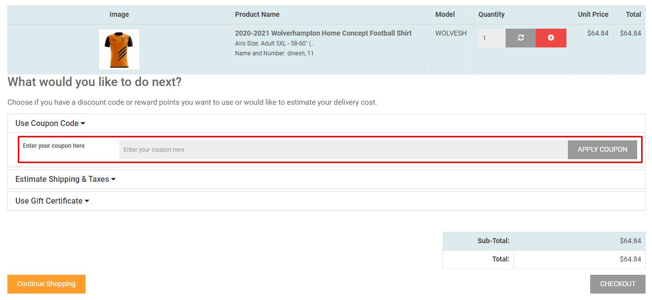 How do I use my Airo Sportswear coupon code?