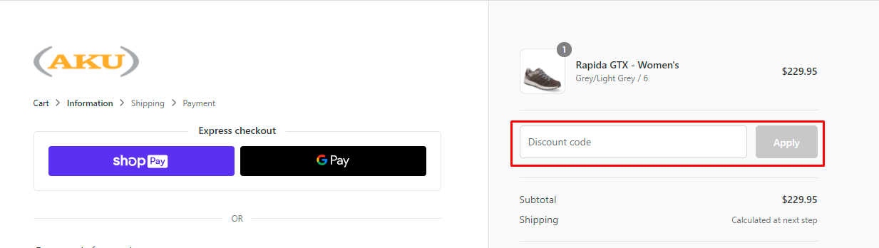 How do I use my AKU Outdoor discount code?