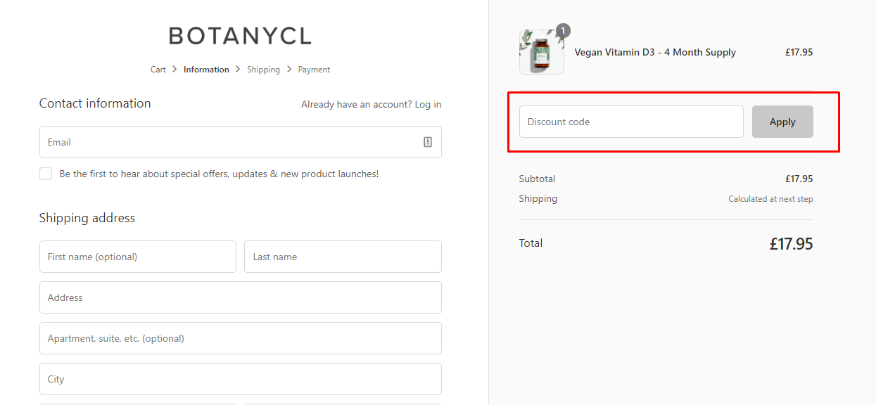 How do I use my BOTANYCL discount code?
