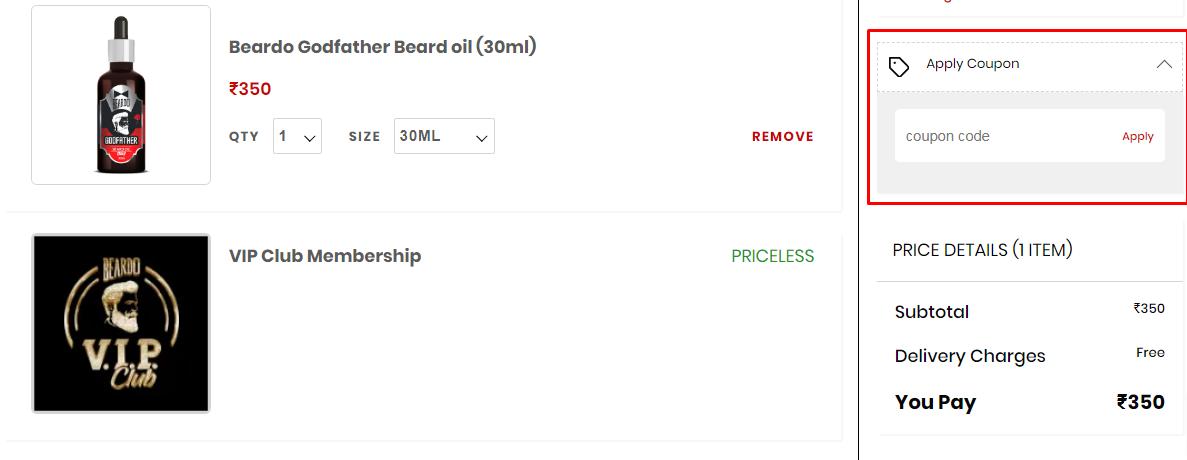 How do I use my Beardo coupon code?