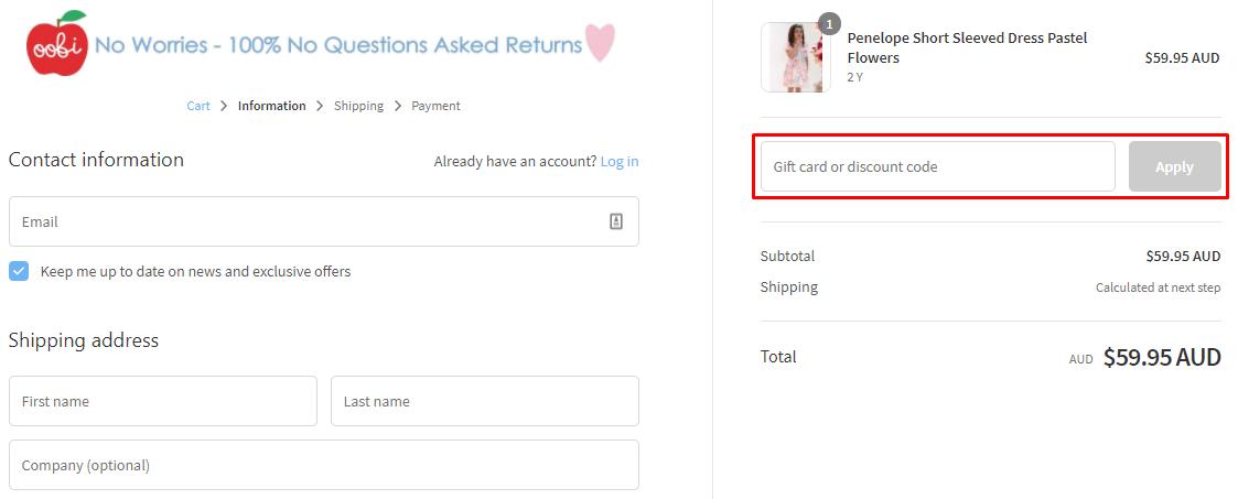 How do I use my Oobi discount code?