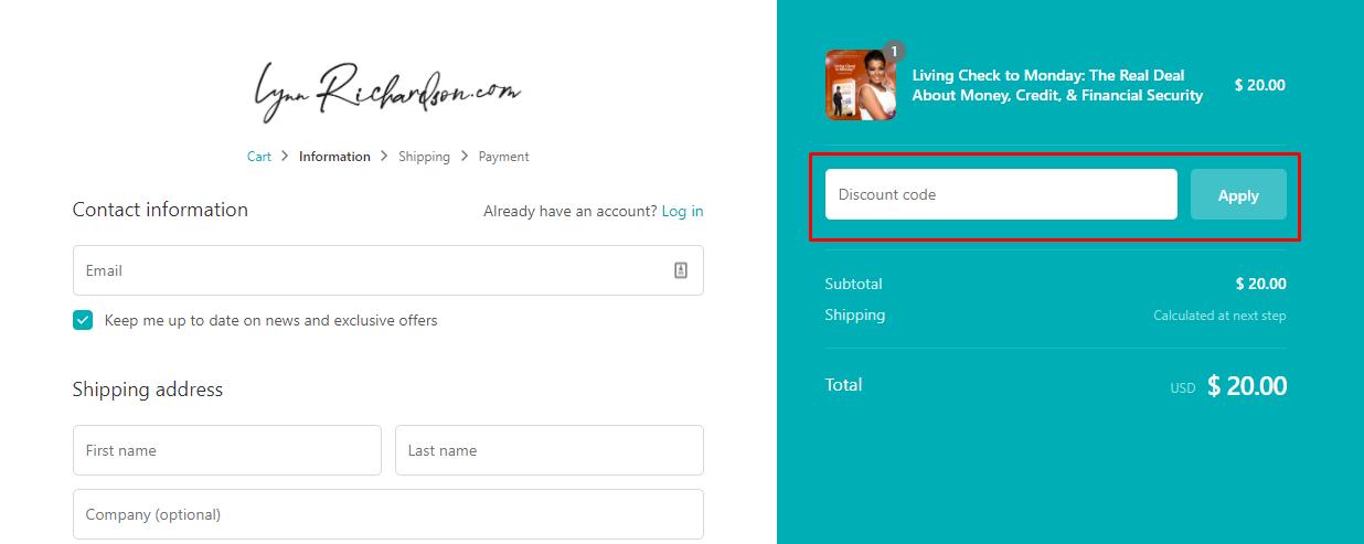 How do I use my Lynn Richardson discount code?