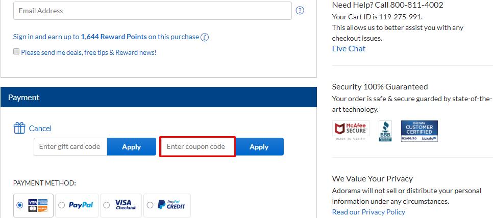 How do I use my Adorama discount code?