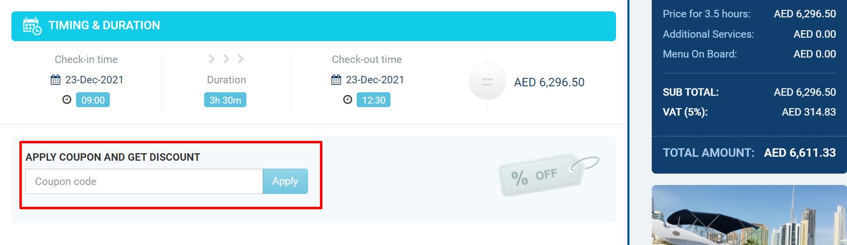 How do I use my Asfar Yacht coupon code?