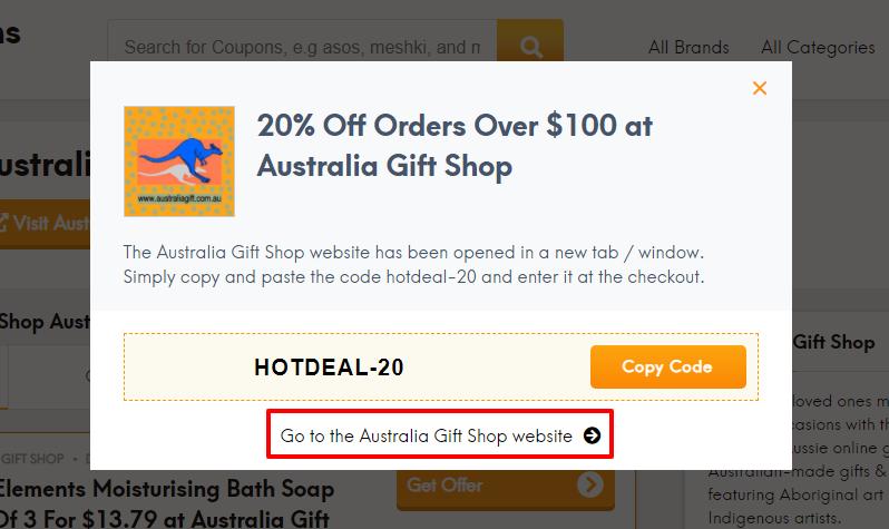 How do I use my Australia Gift Shop coupon code?