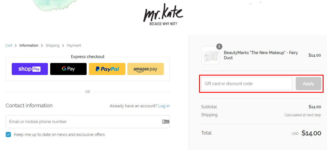 How do I use my Mr.Kate discount code?