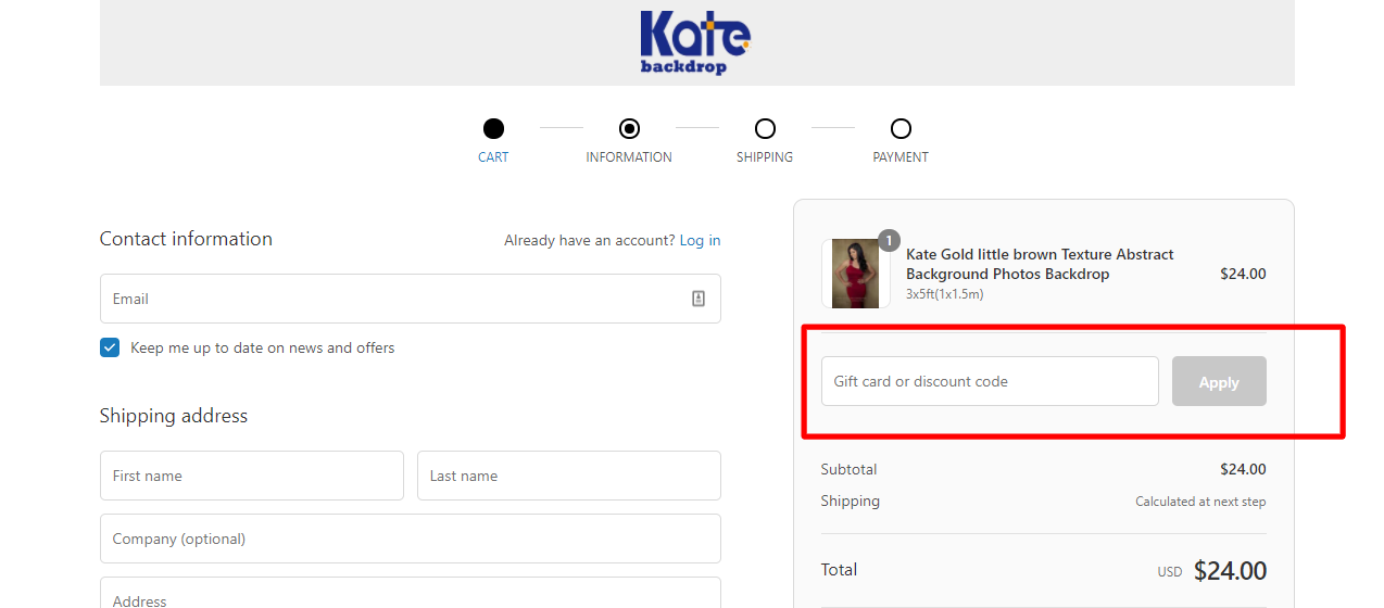 How do I use my Kate discount code?