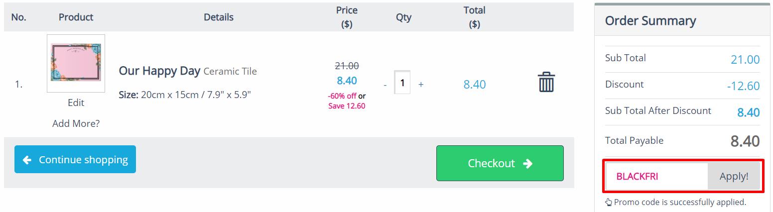 How do I use my Printcious discount code?