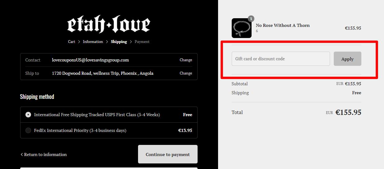 How do I use my etah love discount code?