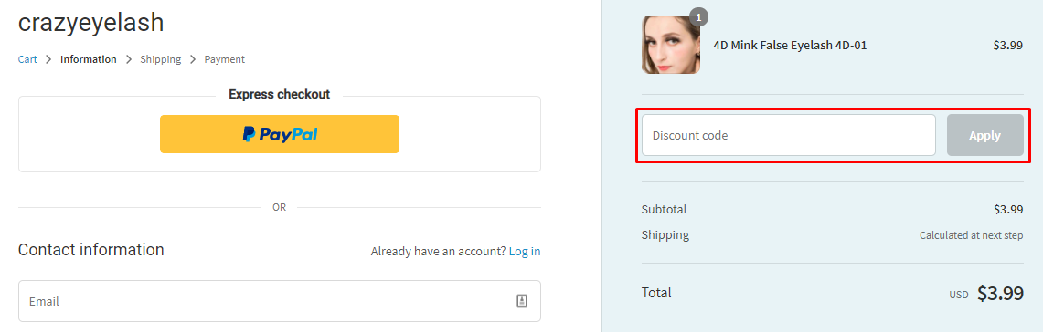 How do I use my CrazyEyelash discount code?