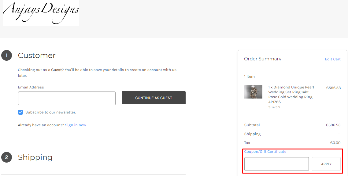 How do I use my Anjays Designs coupon code?