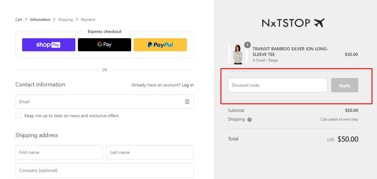 How do I use my NxTStop discount code?