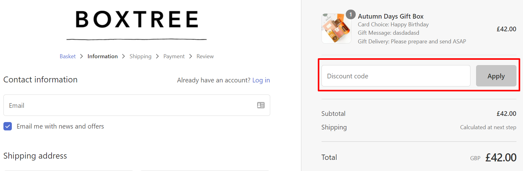 How do I use my BoxTree discount code?