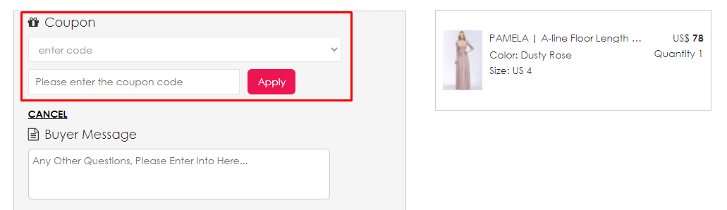 How do I use my Babyonlinedress coupon code?