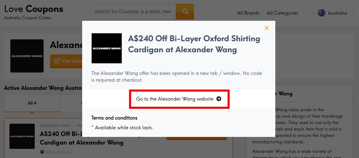 Alexander Wang AU Get Coupon
