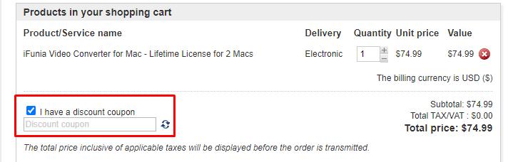 How do I use my iFunia discount code?