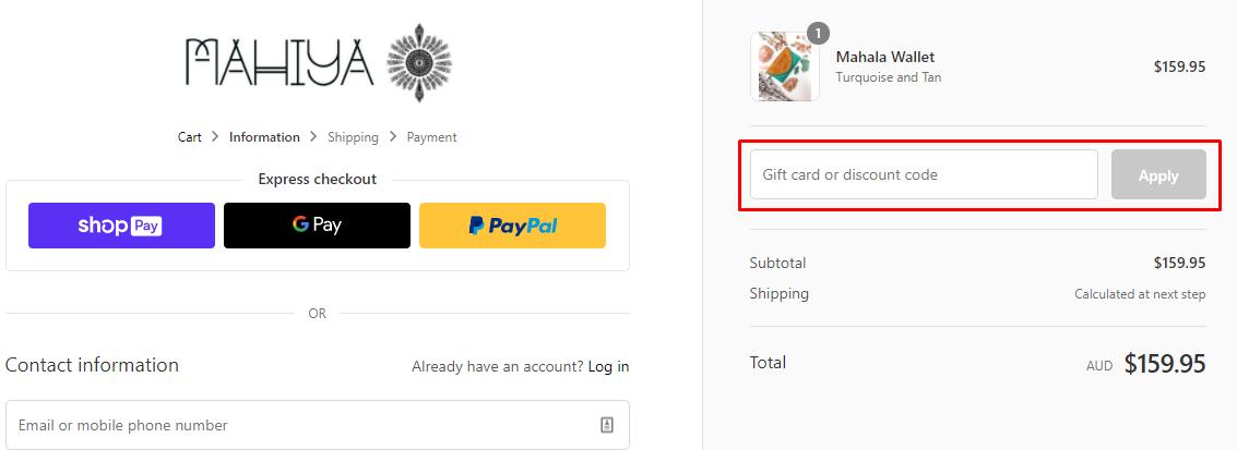 How do I use my Mahiya discount code?