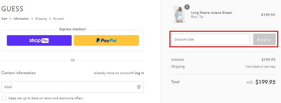 How do I use my Guess discount code?