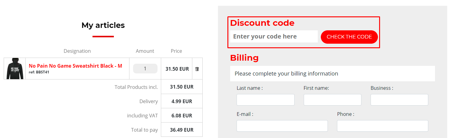 How do I use my B.EASE discount code?