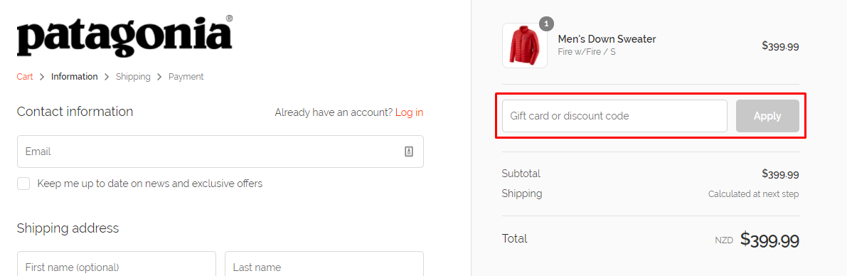 How do I use my Patagonia discount code?