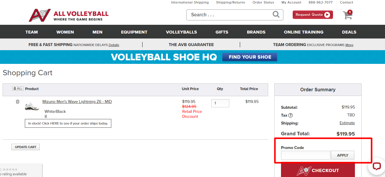 How do I use my ALL VOLLEYBALL promo code?