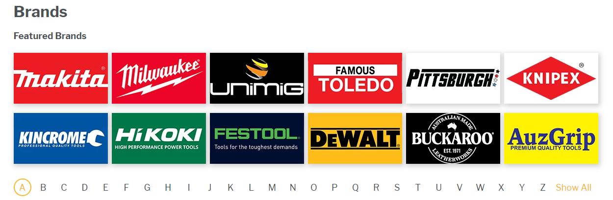 brands at Tools Warehouse
