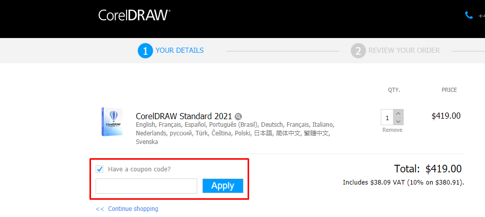 How do I use my CorelDRAW coupon code?