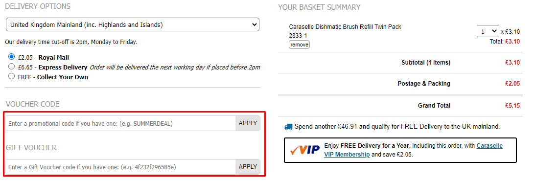 How do I use my Caraselle Direct voucher code?